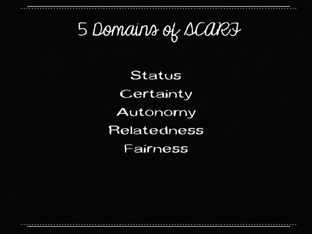 5 Domains of SCARF Status Certainty Autonomy Re...