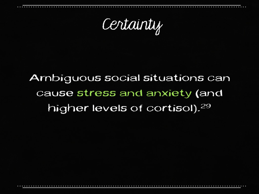 Certainty Ambiguous social situations can cause...