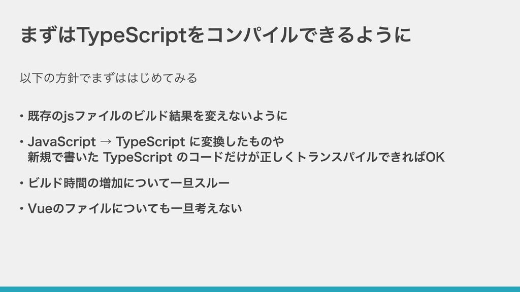 まずはTypeScriptをコンパイルできるように ・既存のjsファイルのビルド結果を変えない...