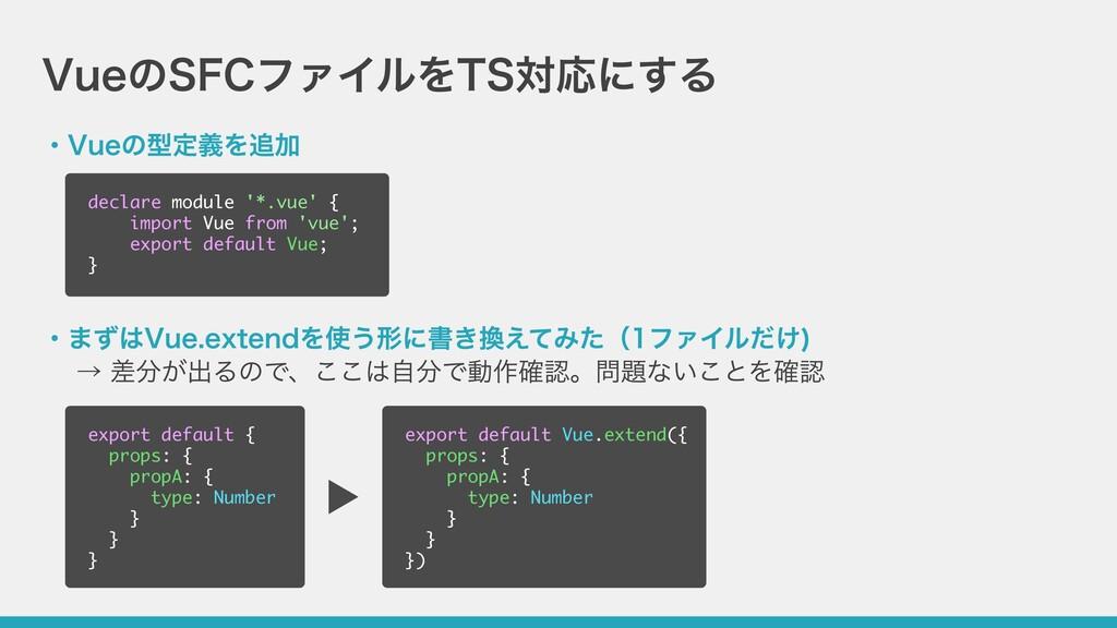 VueのSFCファイルをTS対応にする ・Vueの型定義を追加 ・まずはVue.extendを...