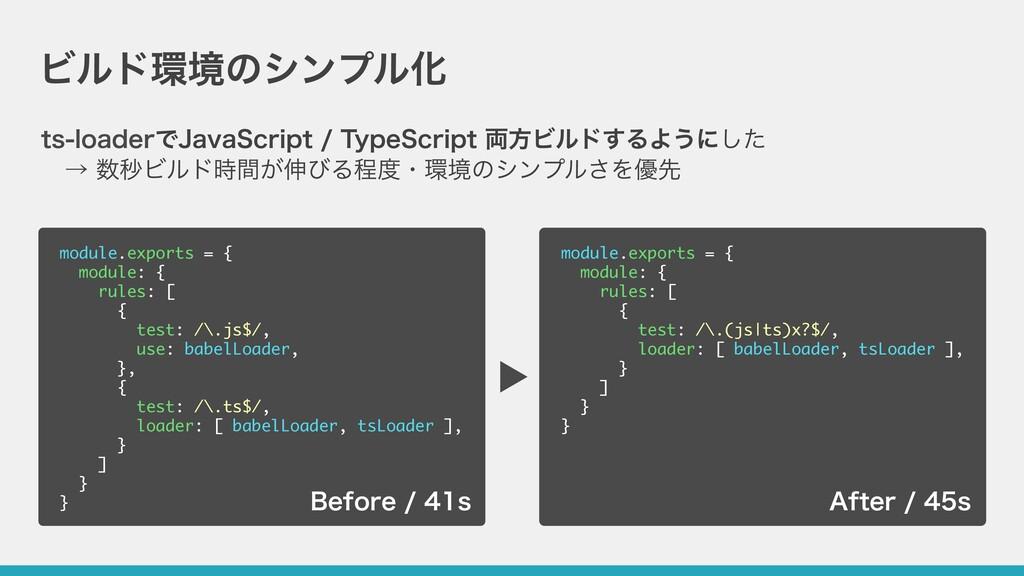 ビルド環境のシンプル化 ts-loaderでJavaScript / TypeScript 両...