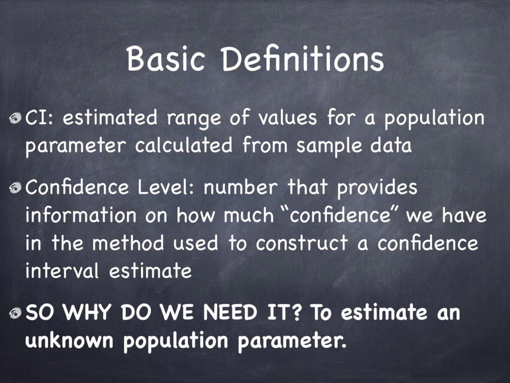Basic Definitions CI: estimated range of values ...
