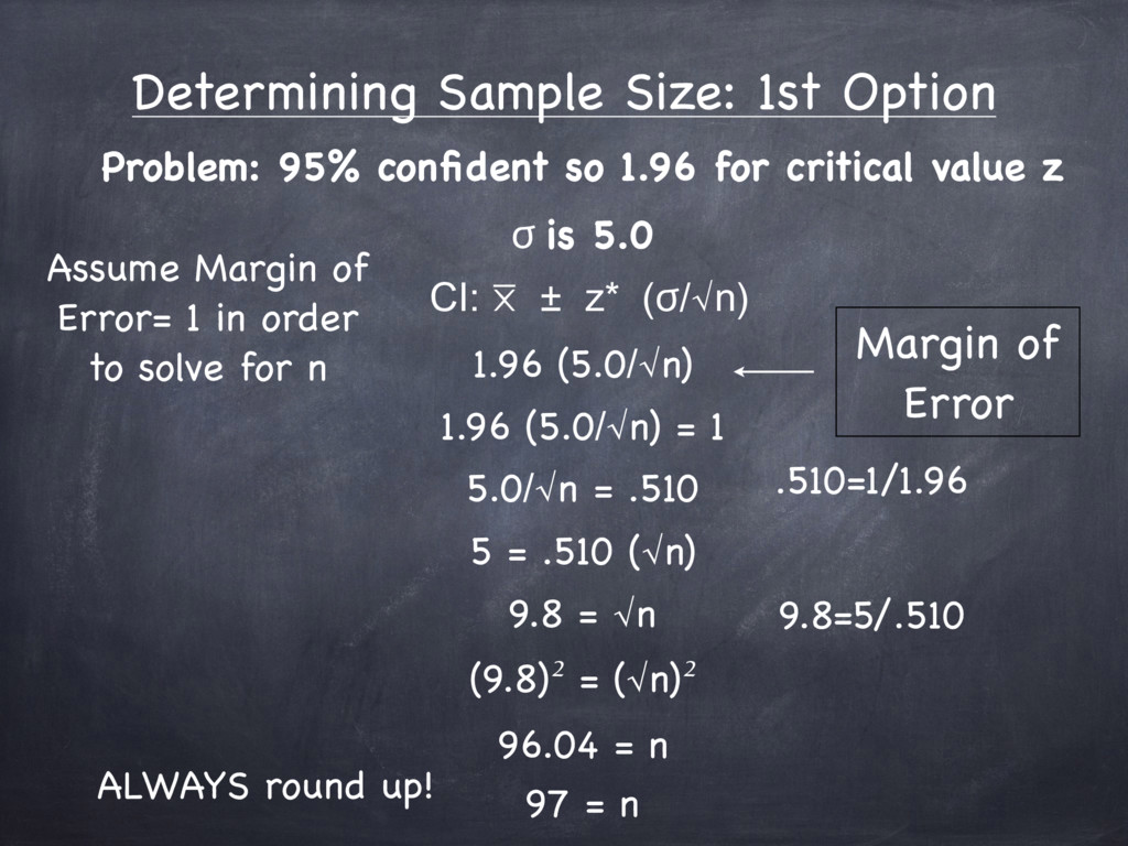 Determining Sample Size: 1st Option Problem: 95...