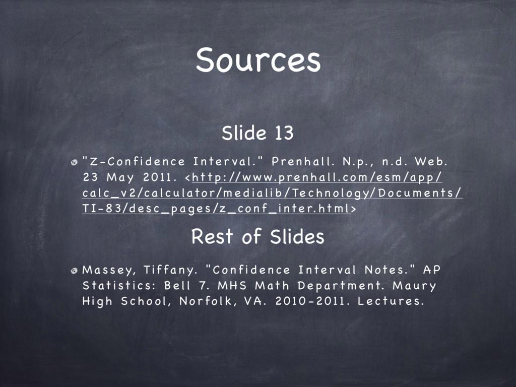 "Sources "" Z - C o n f i d e n ce I nte r va l. ..."