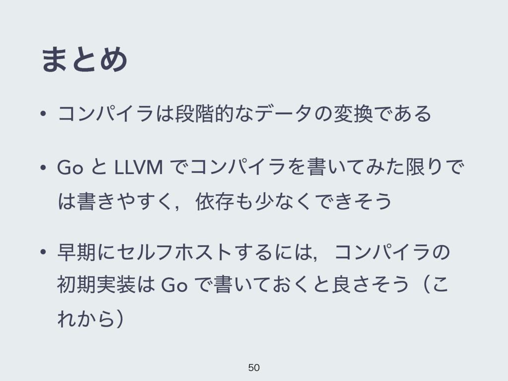 ·ͱΊ • ίϯύΠϥஈ֊తͳσʔλͷมͰ͋Δ • Go ͱ LLVM ͰίϯύΠϥΛॻ͍...