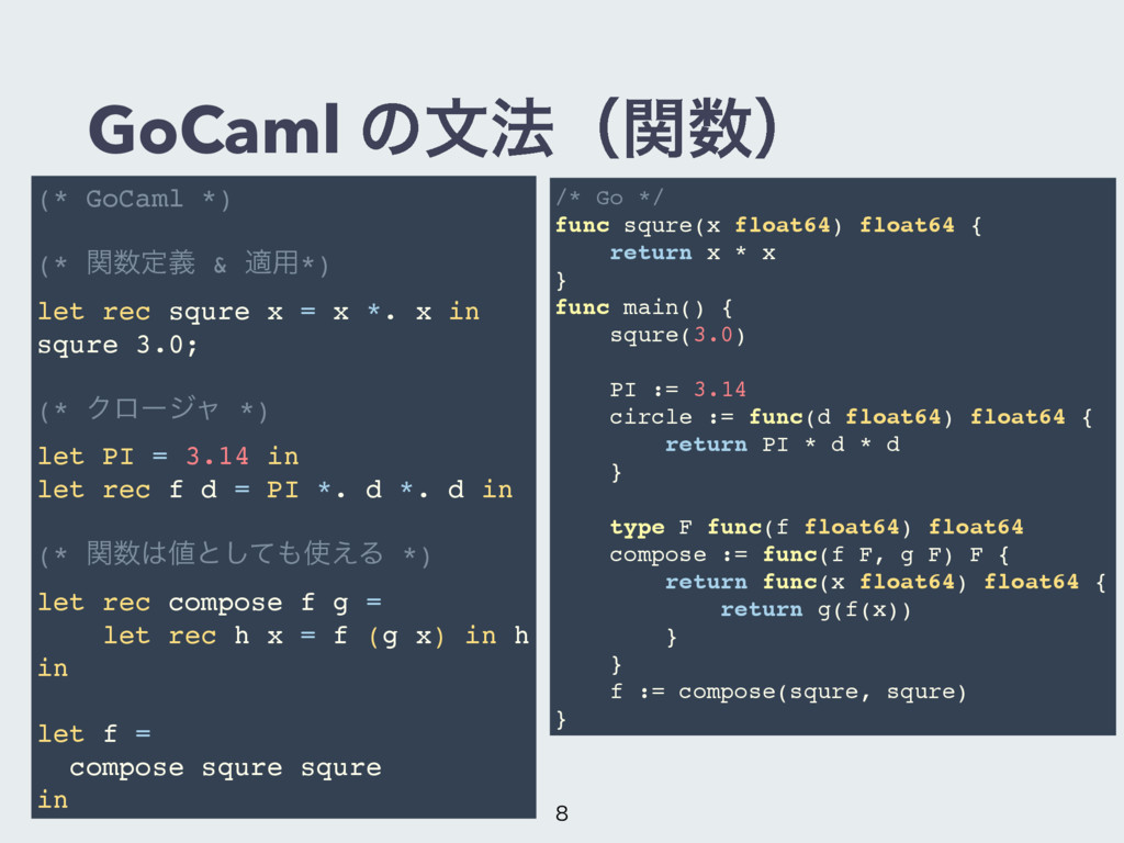 GoCaml ͷจ๏ʢؔʣ (* GoCaml *) (* ؔఆٛ & ద༻*) let ...