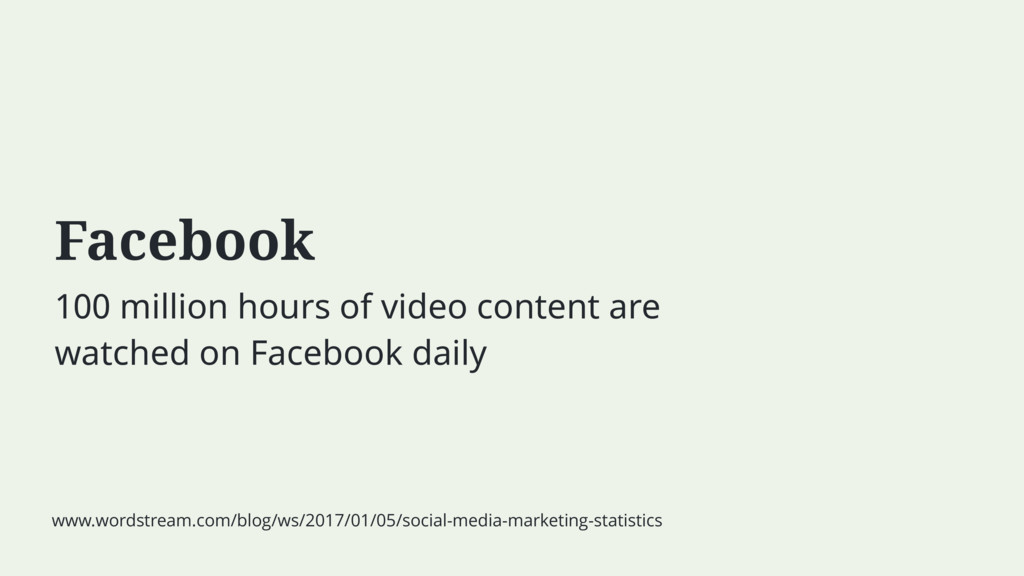 Facebook 100 million hours of video content are...