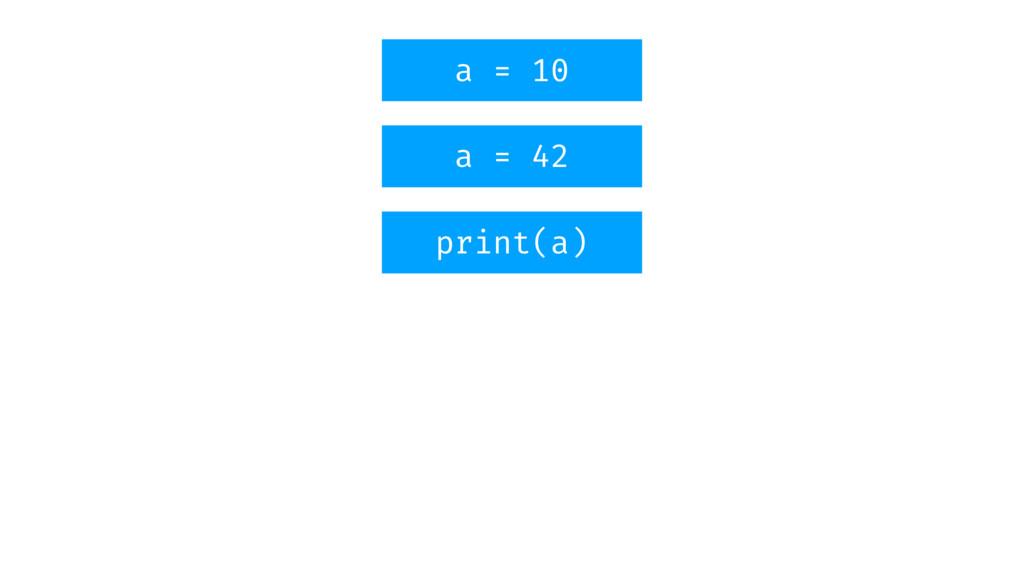 a = 10 a = 42 print(a)