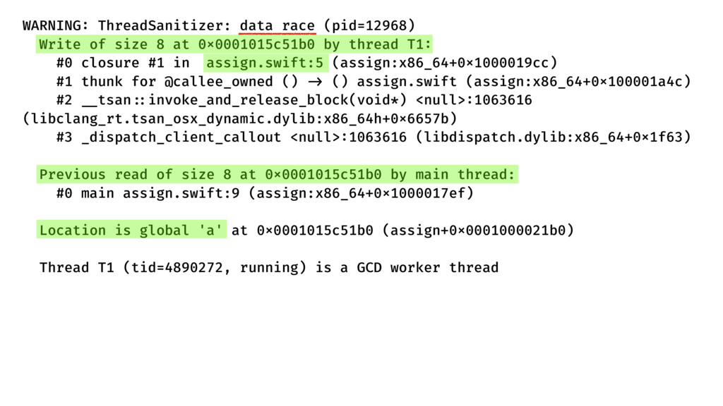 WARNING: ThreadSanitizer: data race (pid=12968)...