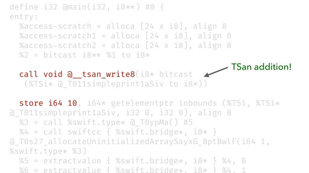 """define i32 @main(i32, i8""""**) #0 { entry: %acces..."""