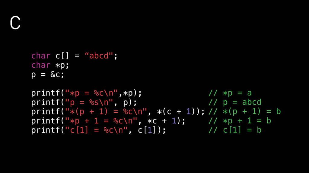 "C char c[] = ""abcd""; char *p; p = &c; printf(""*..."