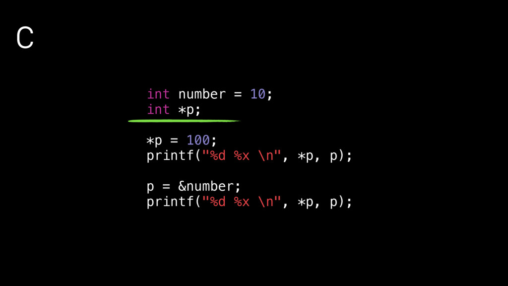 "C int number = 10; int *p; *p = 100; printf(""%d..."