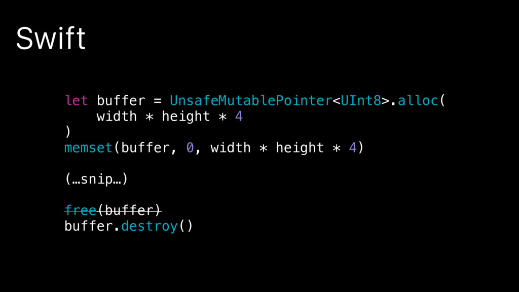 Swift let buffer = UnsafeMutablePointer<UInt8>....