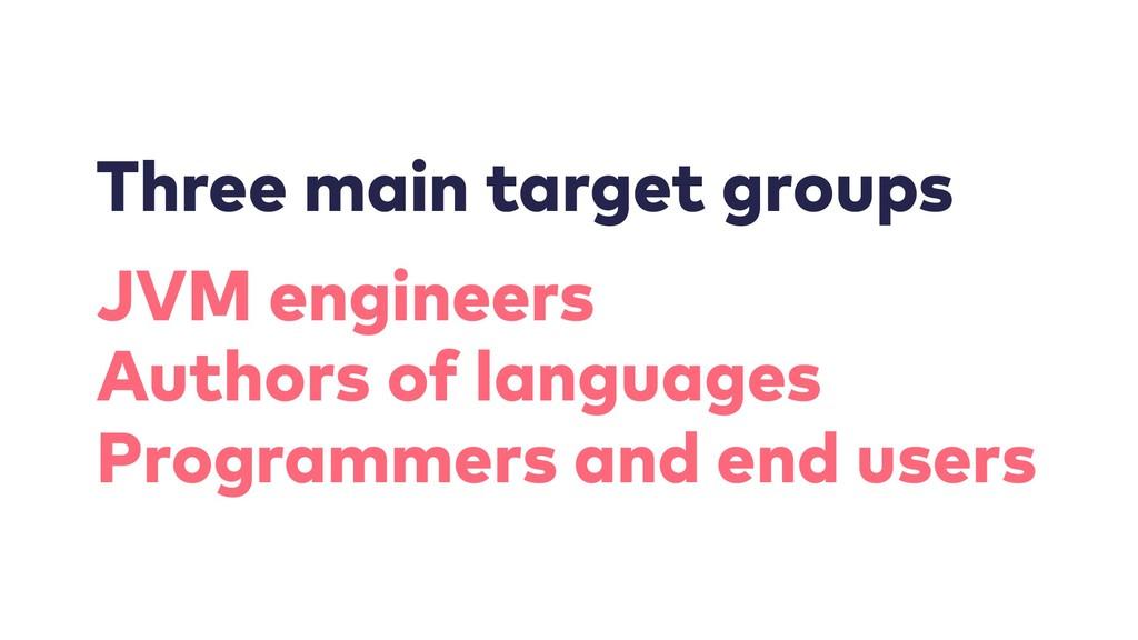 Three main target groups JVM engineers Authors ...