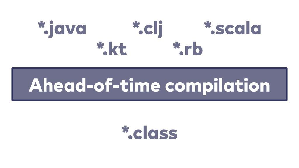 Ahead-of-time compilation *.java *.clj *.scala ...
