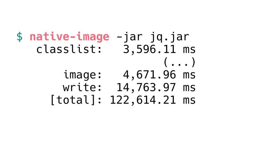 $ native-image -jar jq.jar classlist: 3,596.11 ...