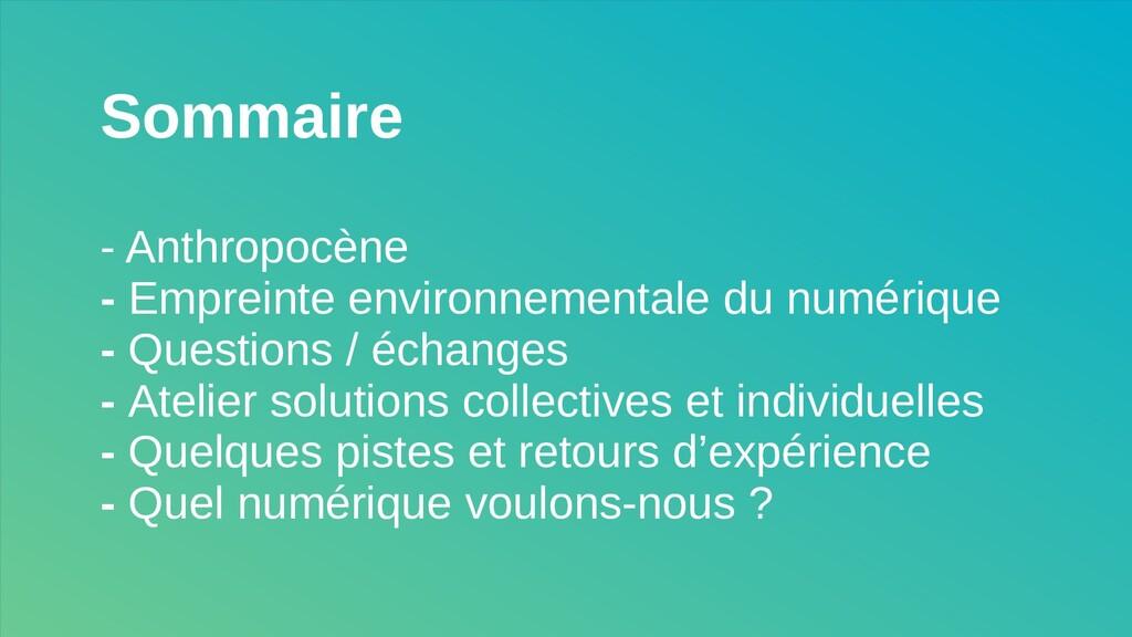 Sommaire - Anthropocène - Empreinte environneme...