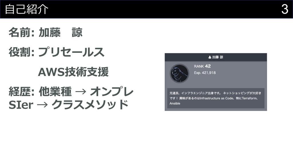3 ⾃⼰紹介 名前: 加藤 諒 役割: プリセールス AWS技術⽀援 経歴: 他業種 → オン...