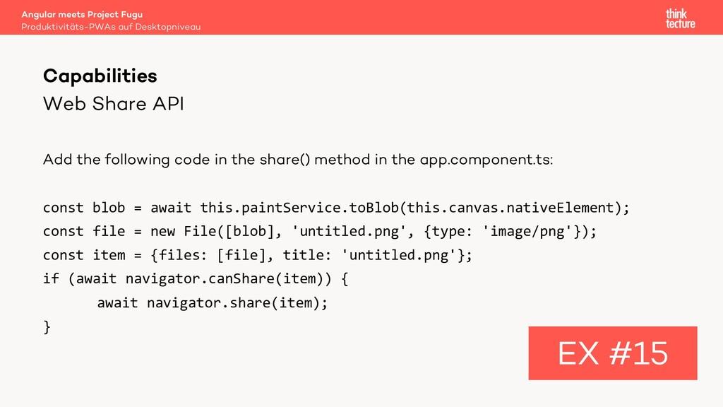 Web Share API Add the following code in the sha...