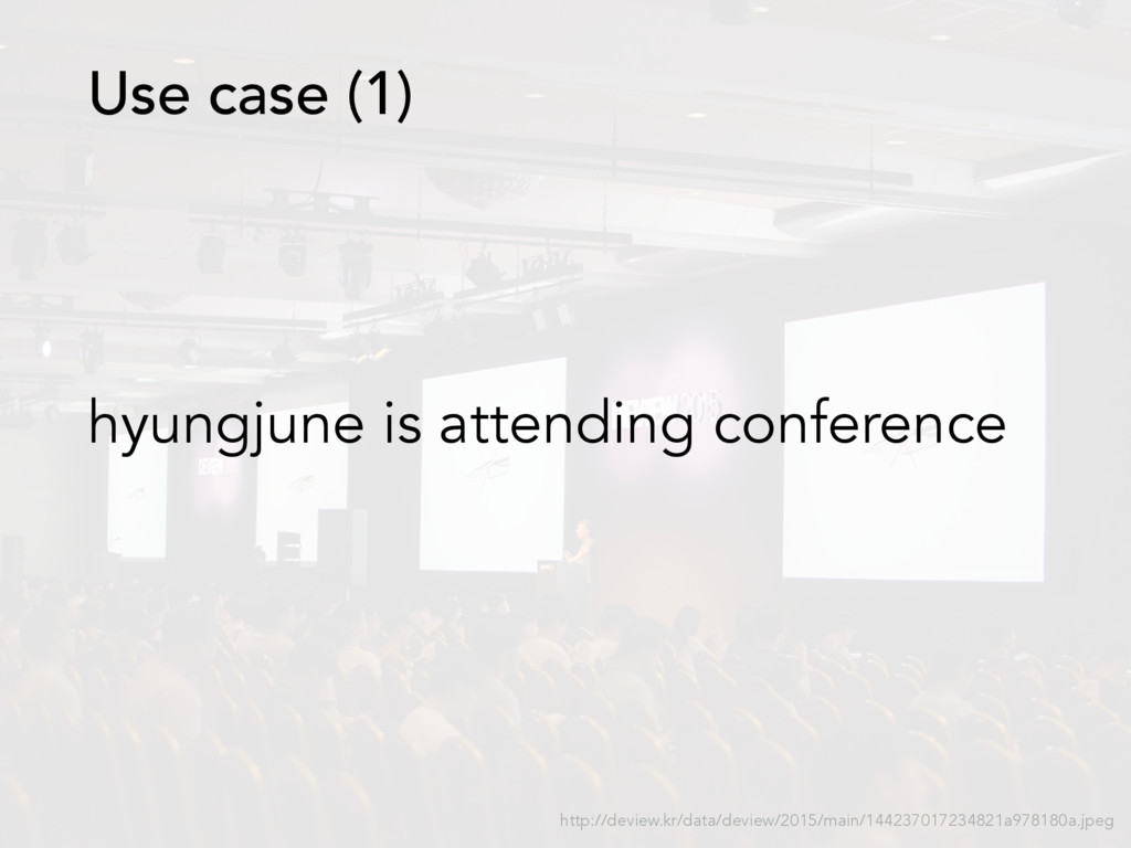 hyungjune is attending conference Use case (1) ...