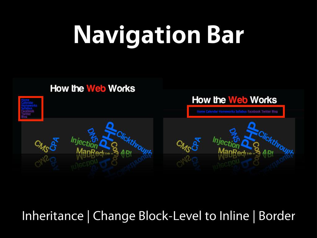 Navigation Bar Inheritance   Change Block-Level...