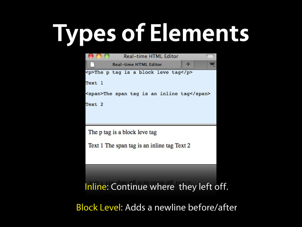 Types of Elements Inline: Continue where they l...
