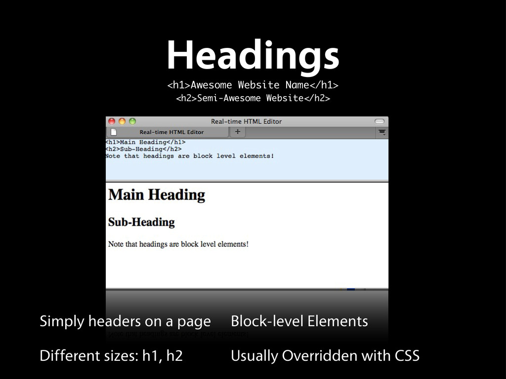 Headings <h1>Awesome Website Name</h1> <h2>Semi...