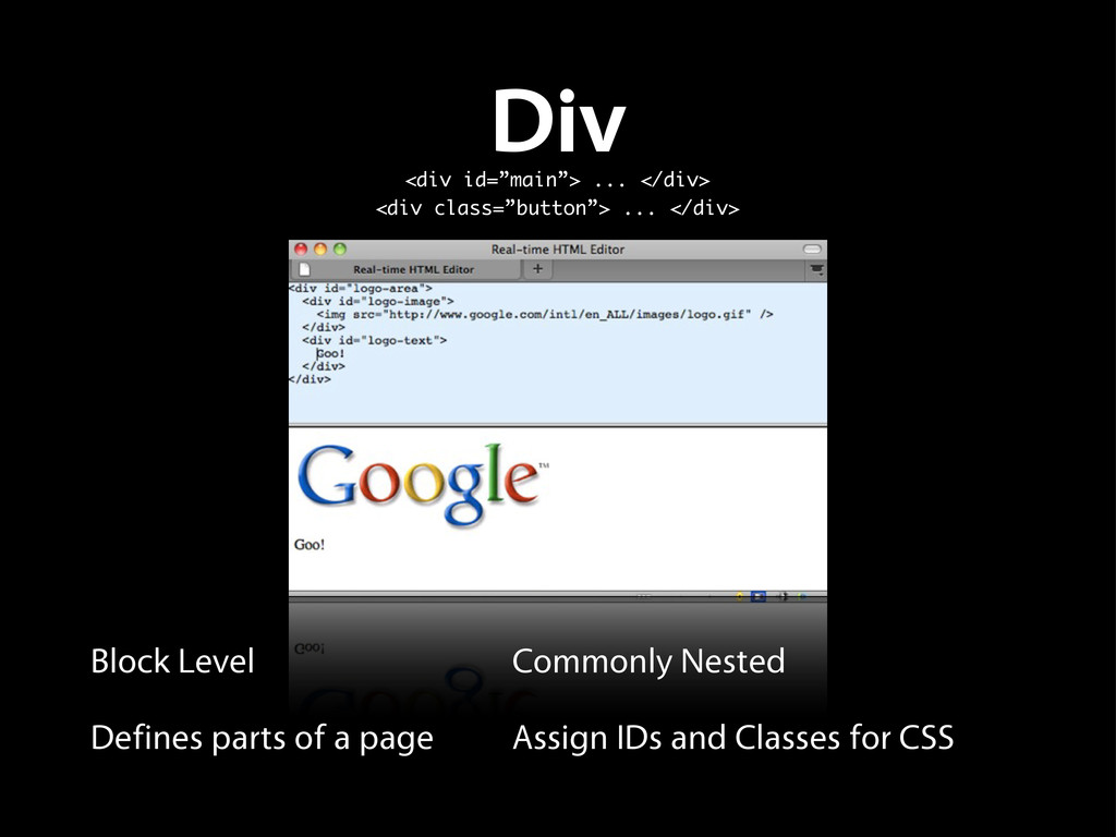 "Div <div id=""main""> ... </div> <div class=""butt..."