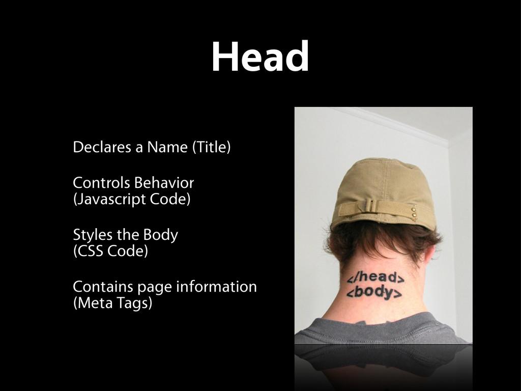 Head Declares a Name (Title) Controls Behavior ...