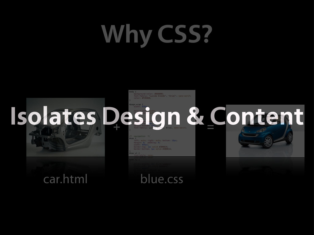 car.html blue.css Why CSS? + = Isolates Design ...
