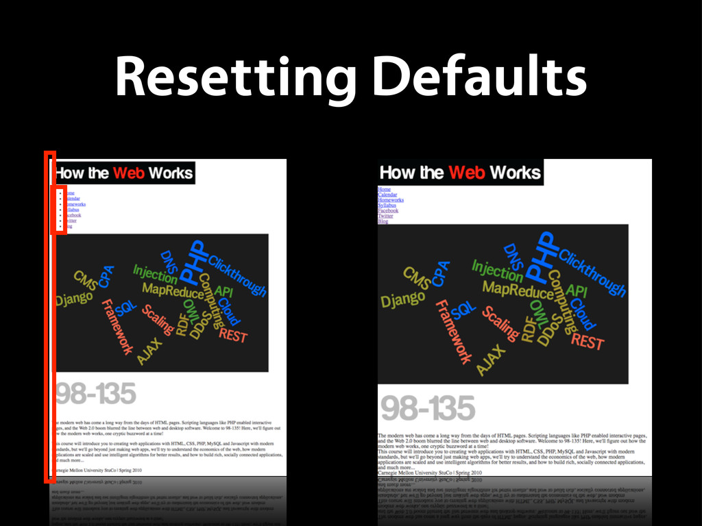 Resetting Defaults