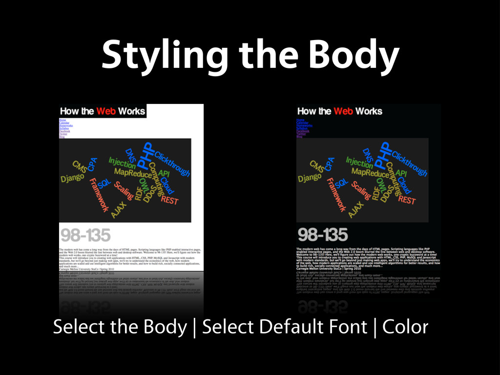Select the Body   Select Default Font   Color S...