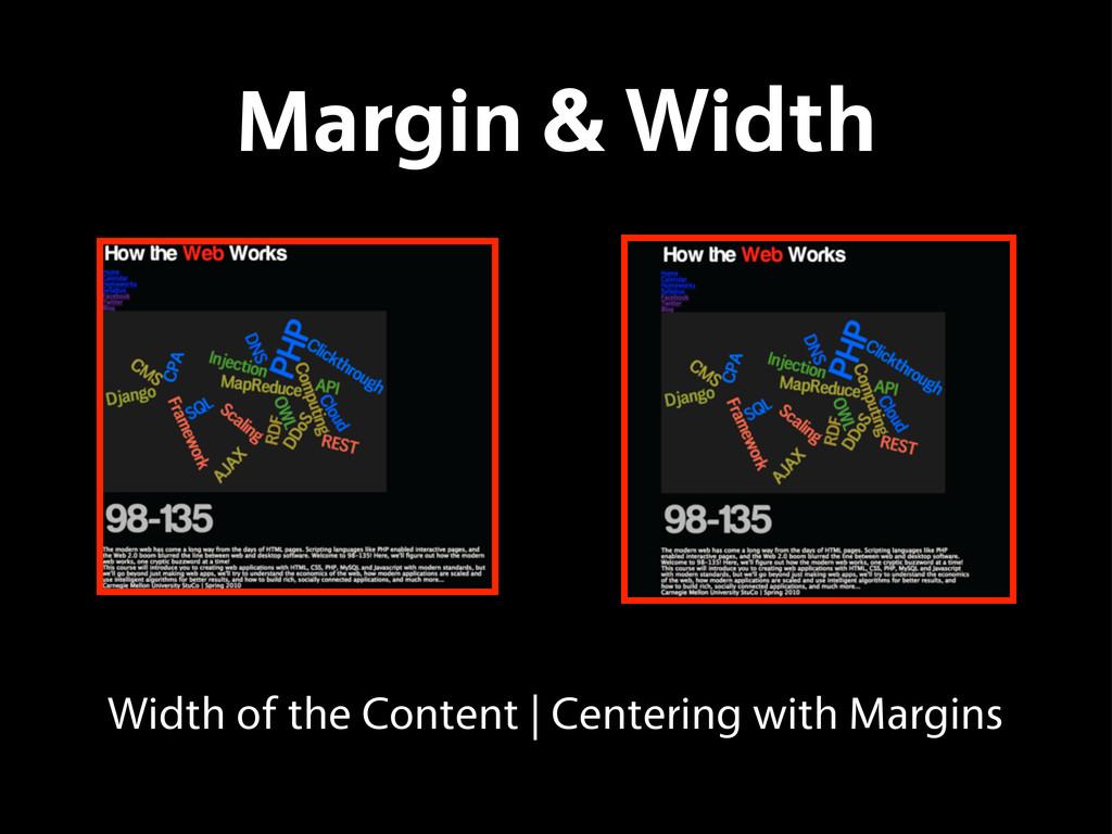 Margin & Width Width of the Content   Centering...