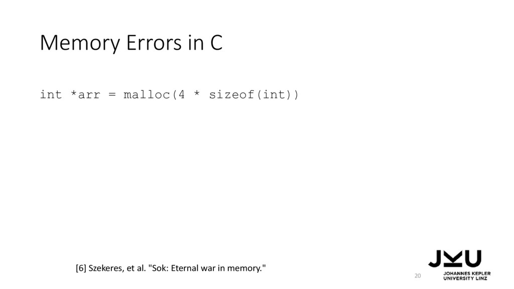 Memory Errors in C int *arr = malloc(4 * sizeof...