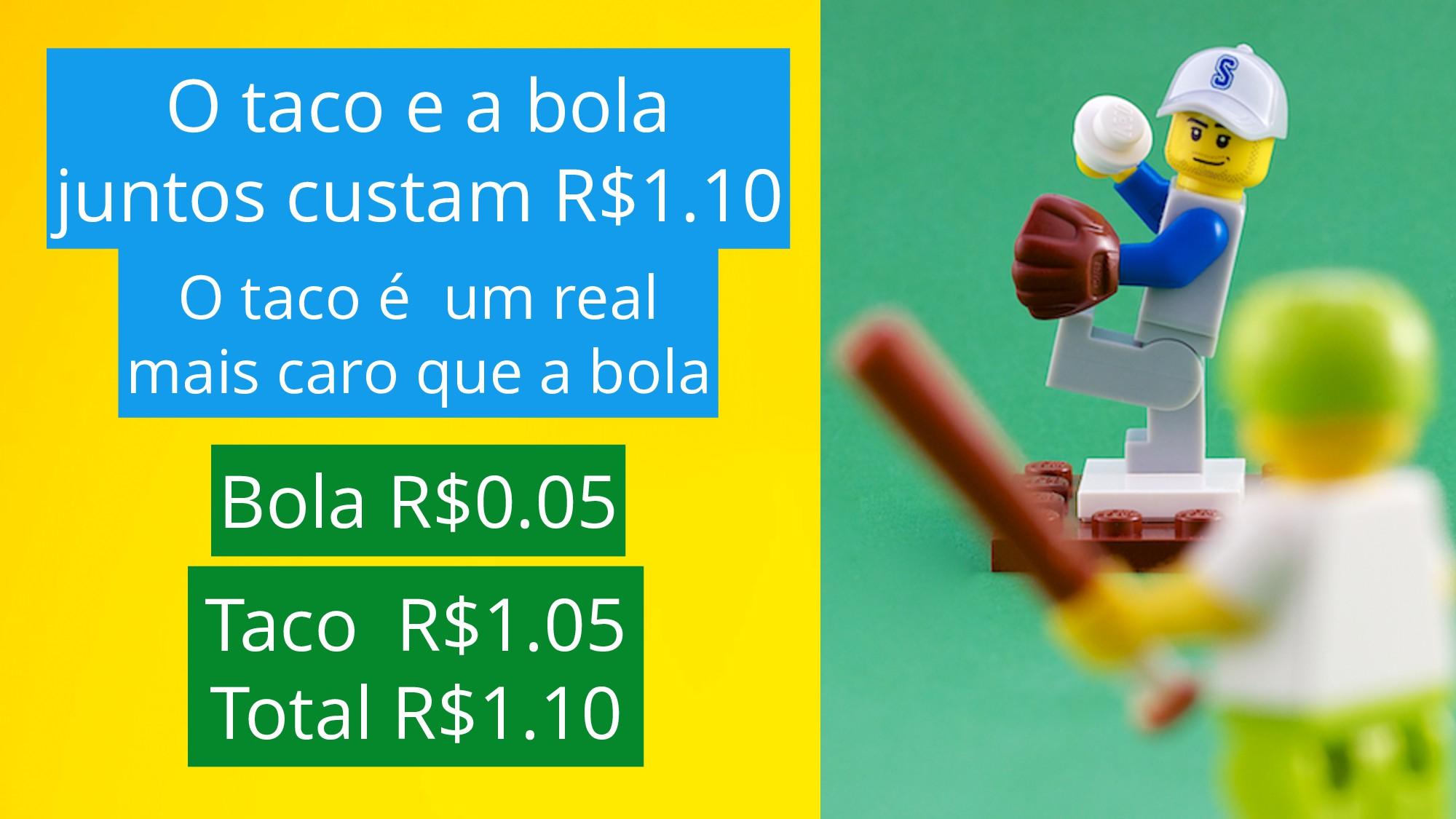 Bola R$0.05 Taco R$1.05 Total R$1.10 O taco é u...