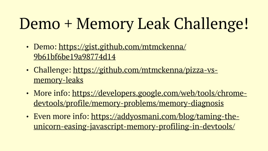 Demo + Memory Leak Challenge! • Demo: https://g...