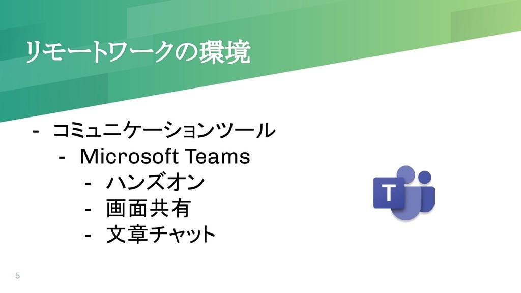 リモートワークの環境 5 - コミュニケーションツール - Microsoft Teams -...