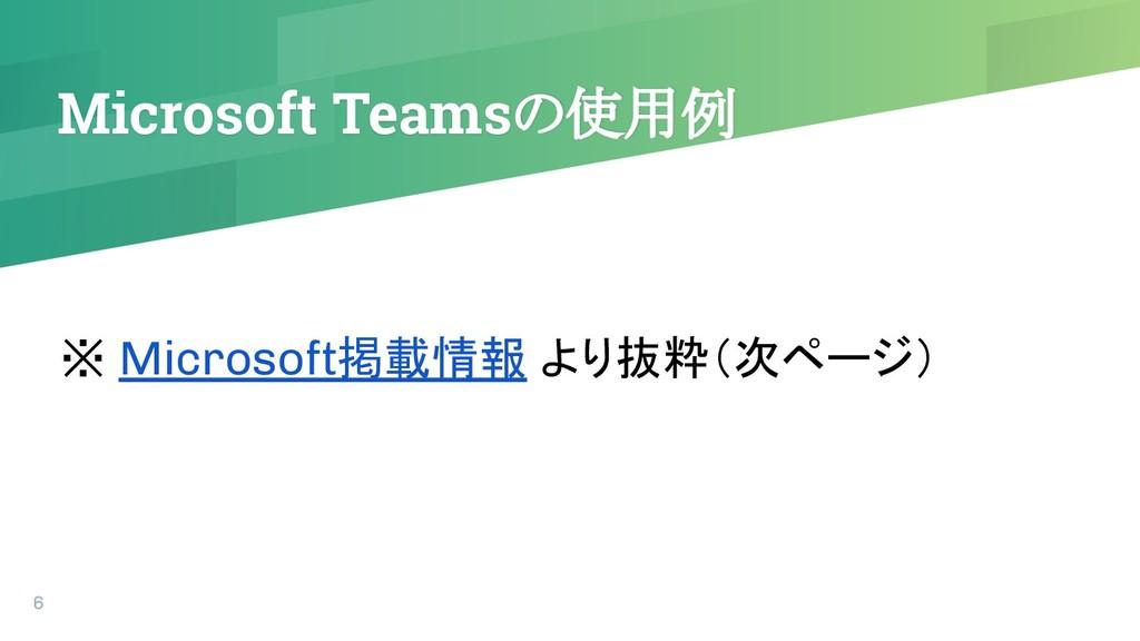 Microsoft Teamsの使用例 6 ※ Microsoft掲載情報 より抜粋(次ページ)