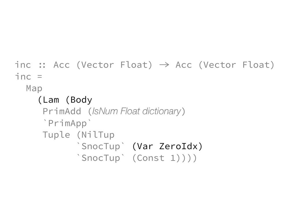 inc = Map (Lam (Body PrimAdd (IsNum Float dicti...