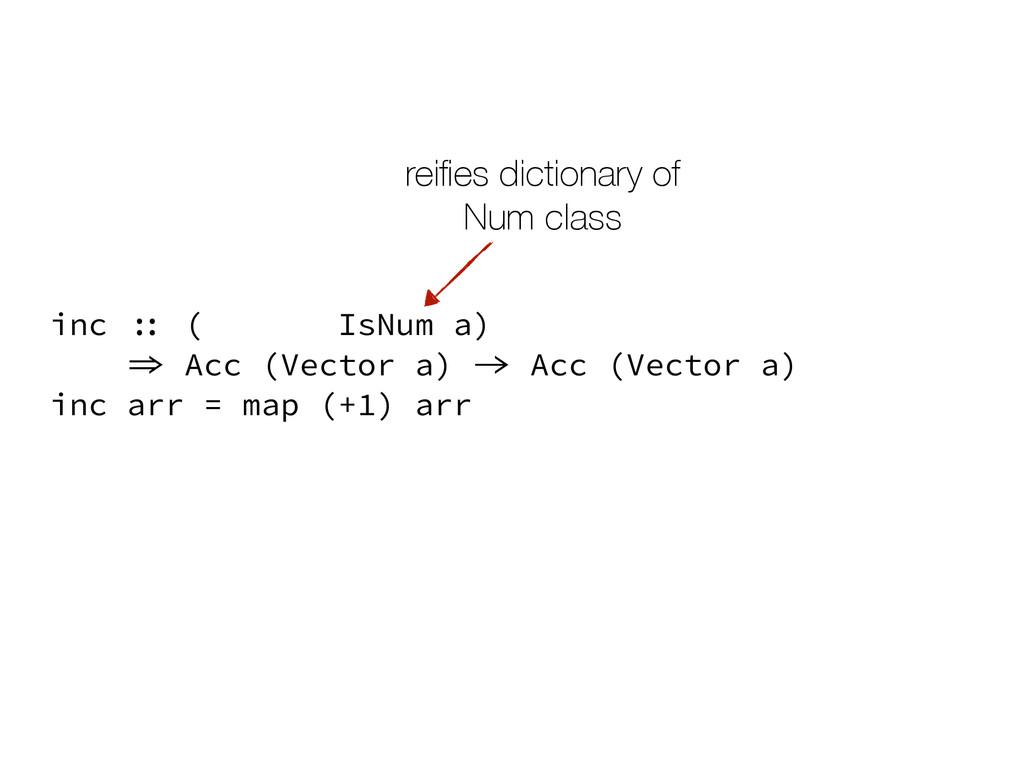 inc arr = map (+1) arr inc :: (Elt a, IsNum a) ...