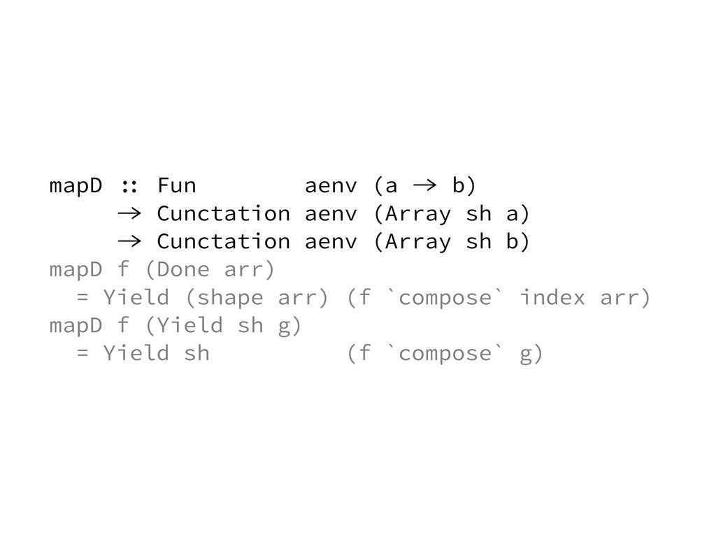 mapD :: Fun aenv (a -> b) -> Cunctation aenv (A...
