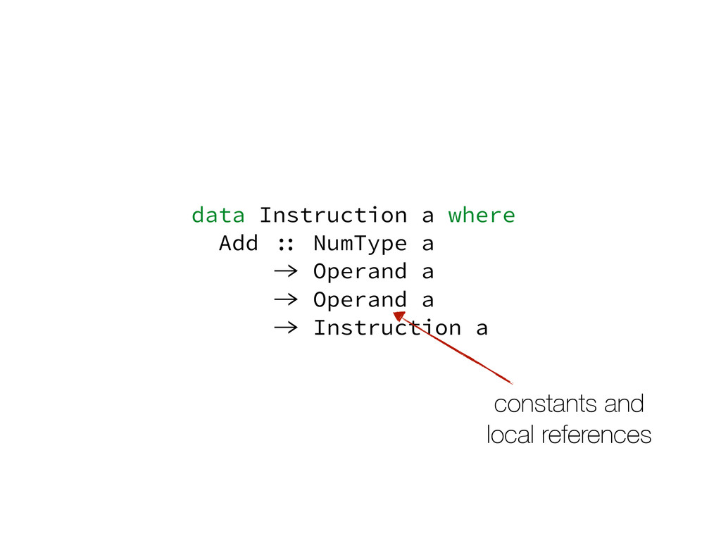 data Instruction a where Add :: NumType a -> Op...