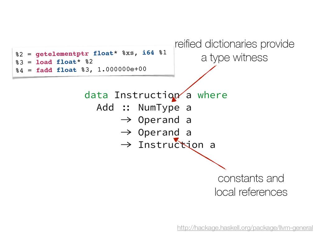 data Instruction a where Add :: NumType a -> Op...