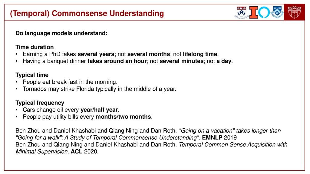 (Temporal) Commonsense Understanding Do languag...