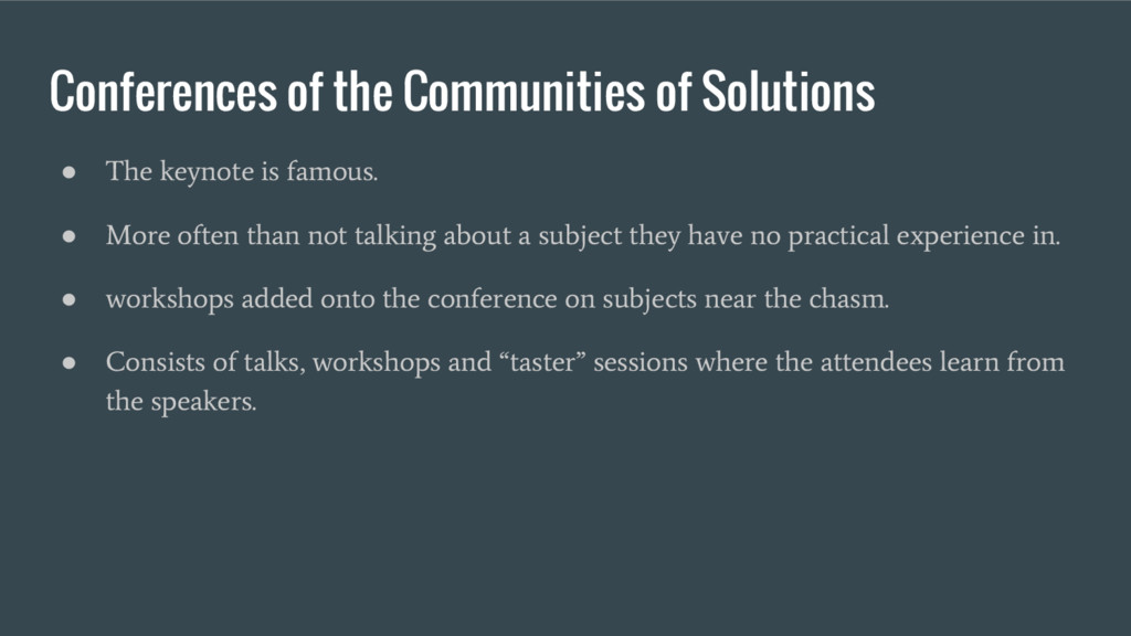 Conferences of the Communities of Solutions ● T...