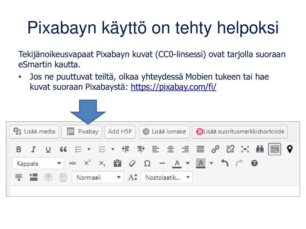 Pixabayn käyttö on tehty helpoksi Tekijänoikeus...