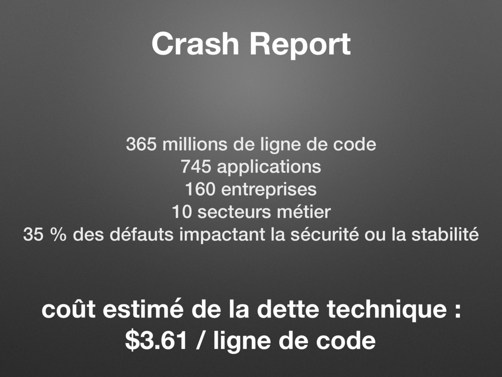 Crash Report 365 millions de ligne de code 745 ...