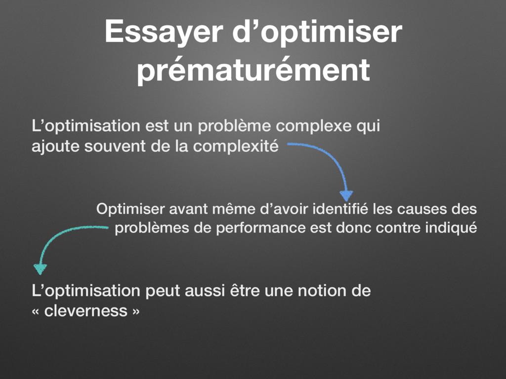 Essayer d'optimiser prématurément L'optimisatio...