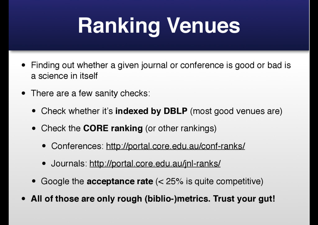Ranking Venues • Finding out whether a given jo...