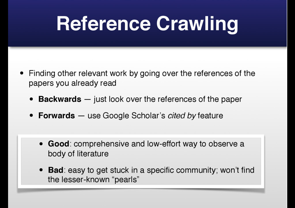 Reference Crawling • Finding other relevant wor...